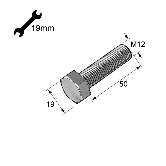 HEXAGON HEAD STEEL BOLT M12x50